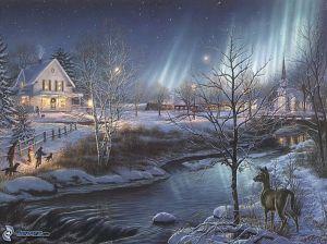 dibujos-animados-de-un-pueblo-navidad-invierno-nieve-corriente-corza-arboles-aurora-polar-thomas-kinkade-133910